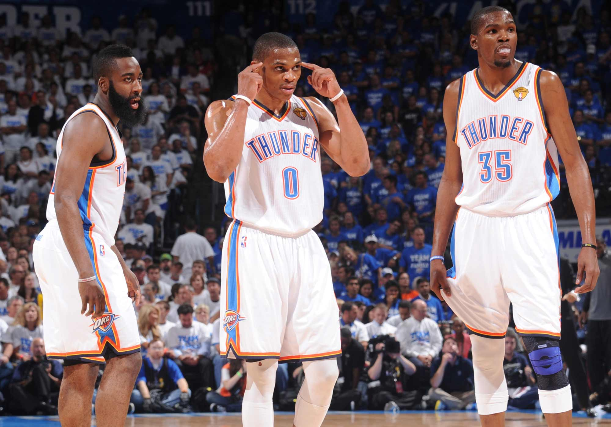James Harden, Russell Westbrook and Kevin Durant