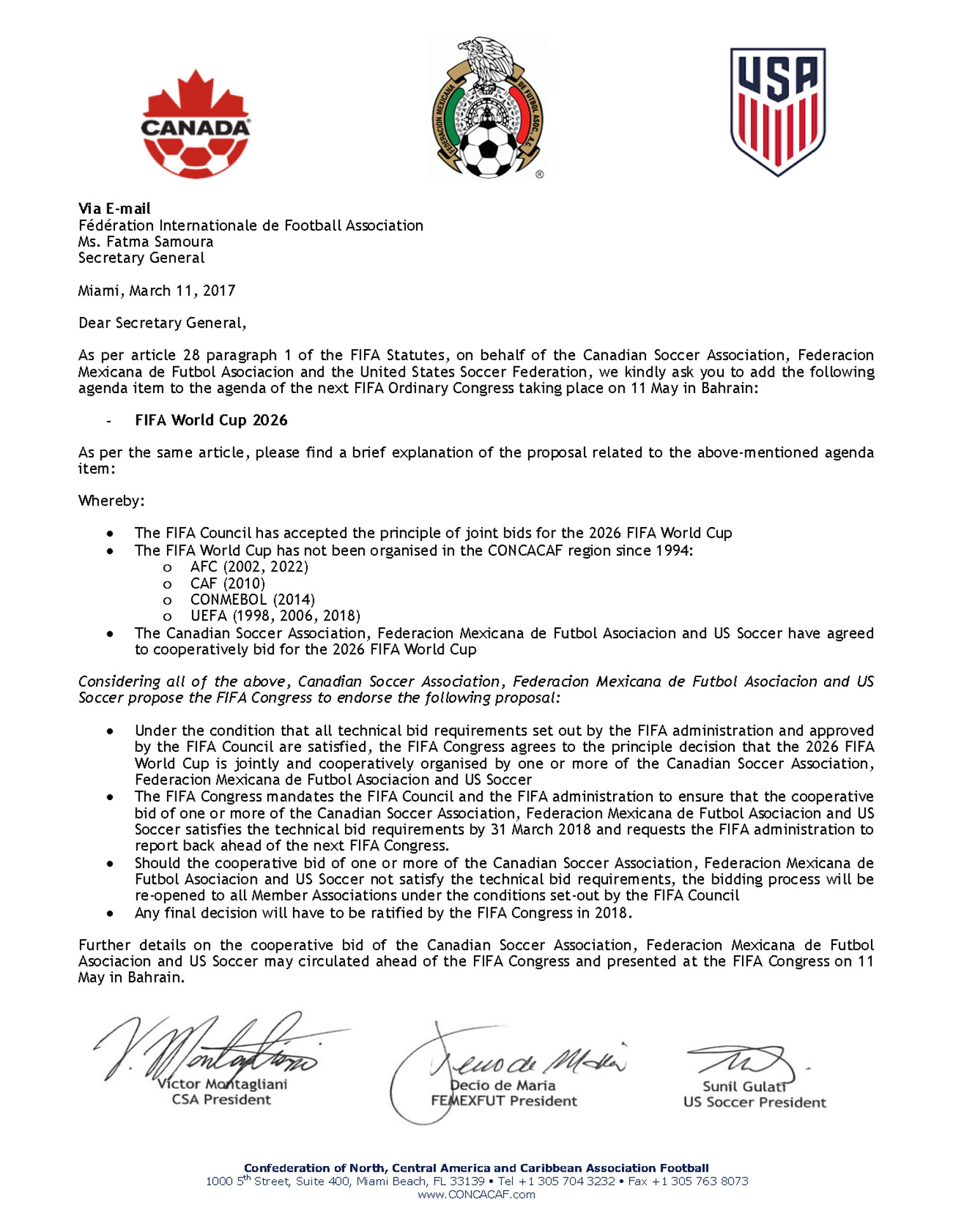 Canada, USA, Mexico send a letter to FIFA asking to fast-track World Cup 2026 bid process