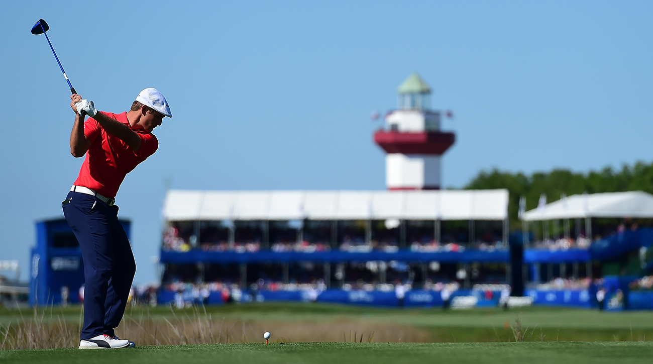 Bryson DeChambeau tees off on the 18th hole during the final round of the 2016 RBC Heritage. DeChambeau tied for fourth last year in his pro debut and is back again this week.