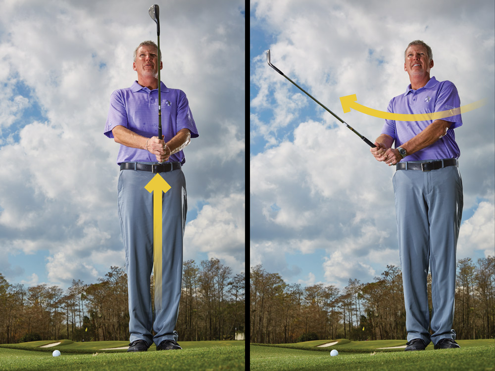 Hinge the club up in front of your chest, elbows at your sides. Then add your right hand to the handle. Rotate your upper body to the right until it points toward the ball. (Your hips will move just a little.)