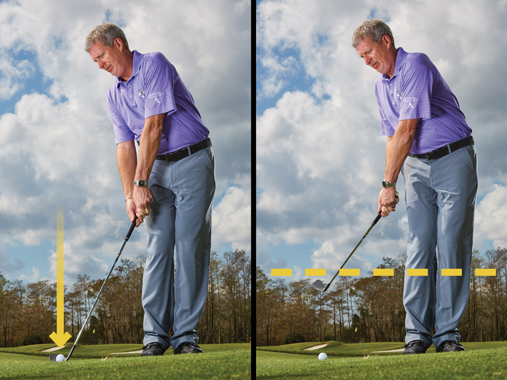 Unhinge your elbows and wrists and sole the club behind the ball, adding a touch of knee and hip bend. Check that the face is square to your target. Now, swing the club back. This stance compels you to use more hinge than arm swing. Ideally, the clubhead shouldn't pass shin height.