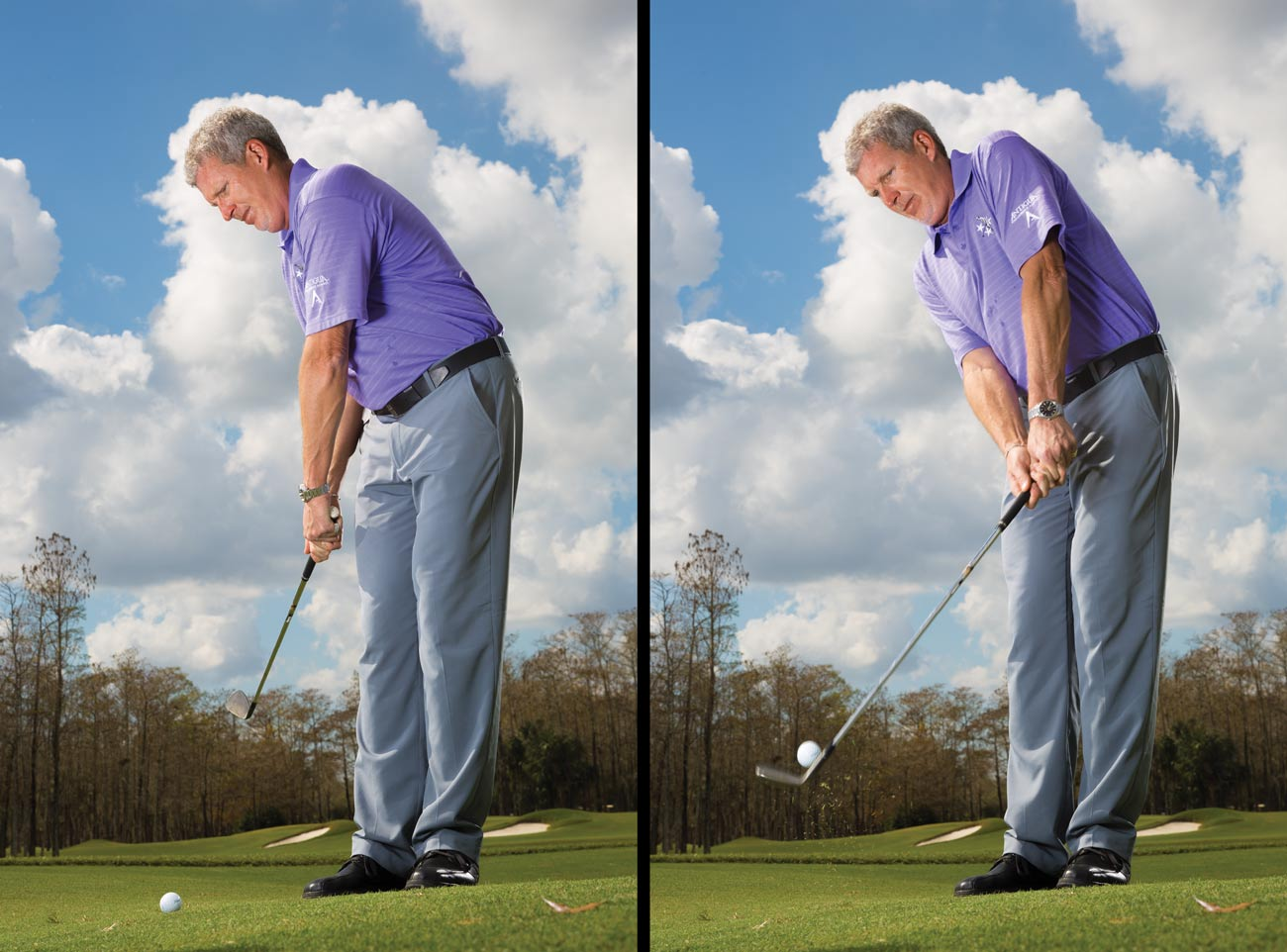 With this setup, you're free to make a slightly bigger backswing but not so free to yank the club off-plane. As before, hinge your wrists and fold your right elbow. Make the same downswing—push the club to the ball with your right arm while softly turning toward the target. Through impact, extend your arms and keep the clubhead low to the ground.