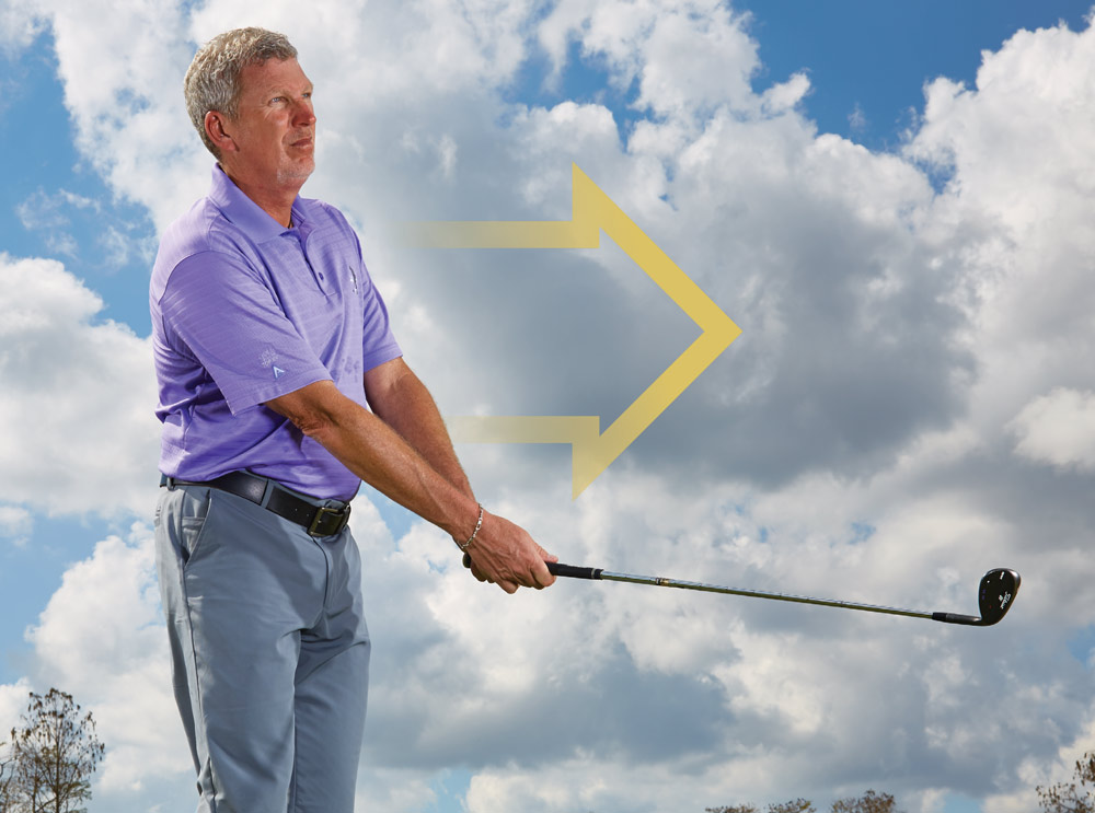 Smoothly push the club with your right arm while gently unwinding your body. The club shouldn't finish above waist height. You've done it correctly if, at the end, your belt buckle, chest and club point at the target, with your hands and arms aligned with your shirt buttons. If the shaft angles skyward, you've used too much hand action, a death move. Less—hand movement and overall speed—is more.