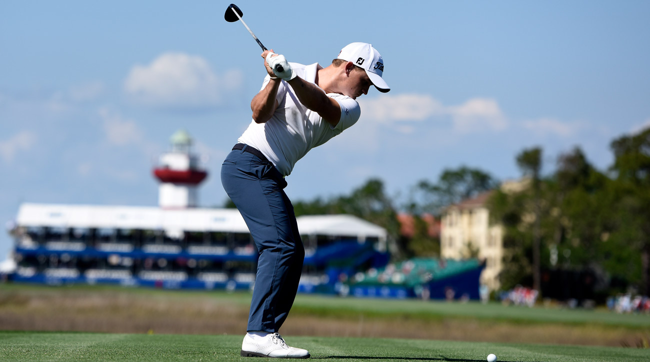 Bud Cauley tees off on the 18th hole at Harbour Town during round 1 of the 2017 RBC Heritage.
