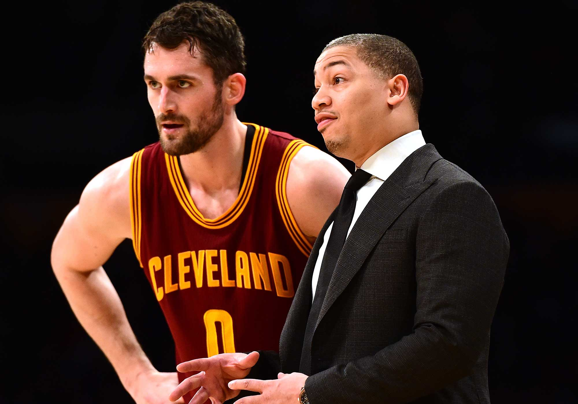 Kevin Love and Ty Lue