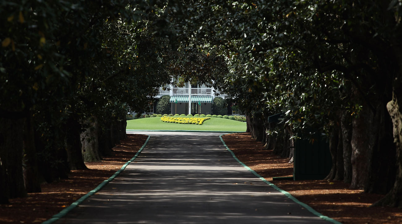 The view down Magnolia Lane at the entrance to Augusta National Golf Club.