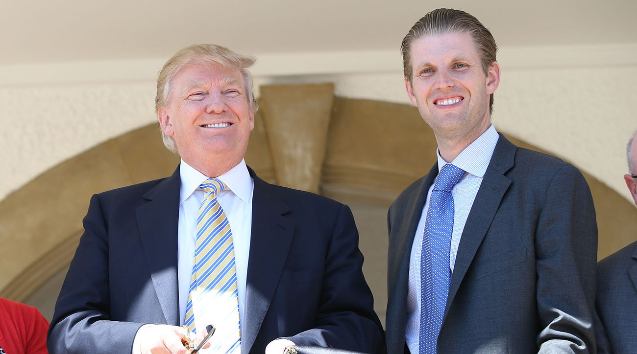 Donald Trump and son Eric Trump visit Turnberry Golf Club, after its $10 Million refurbishment on June 8, 2015 in Turnberry, Scotland.