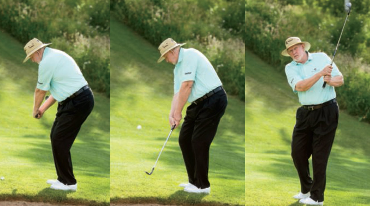 A short backswing and a longer-than-normal follow-through ensure a soft landing.