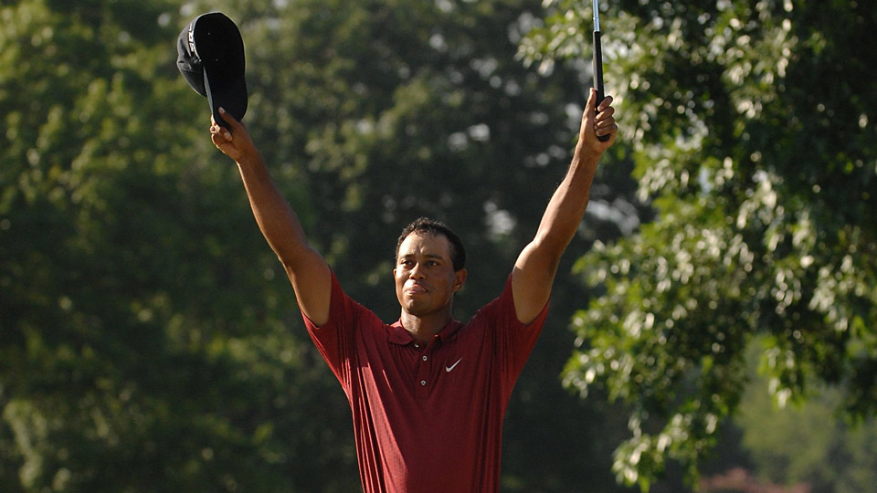 Tiger Woods celebrates his win at the 2007 PGA Championship.