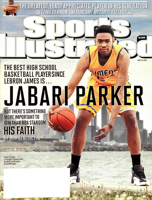 "Chicago high school star Jabari Parker gets best ""since LeBron"" treatment on the cover. He went on to star as a one-and-done at Duke and is now starting on the Bucks."