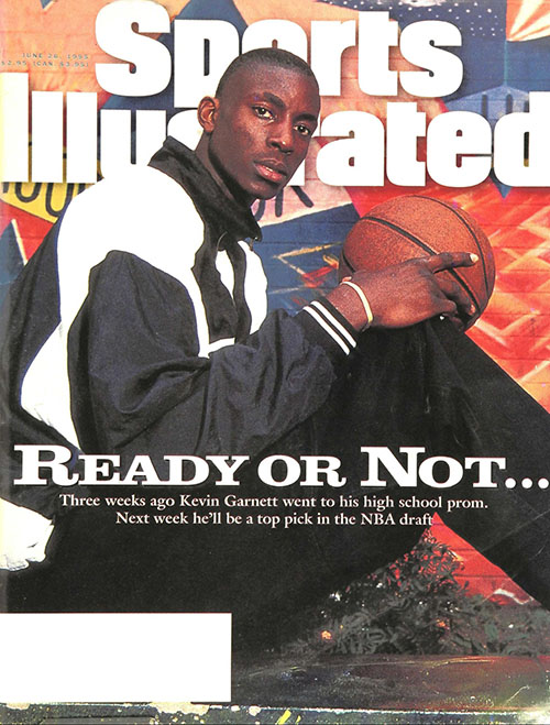 Kevin Garnett makes his first appearance on the cover of the magazine. It would not be his last. At the time, Garnett was just 19 and a recent high school graduate — but also a lock to be picked high in the NBA Draft. He later won an MVP in Minnesota and a title in Boston.