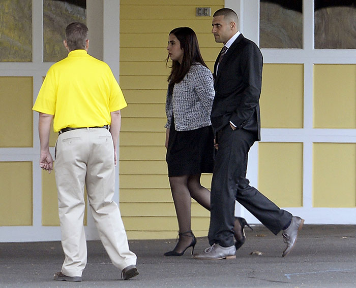 Hernandez's brother, DJ, arrives at the funeral.