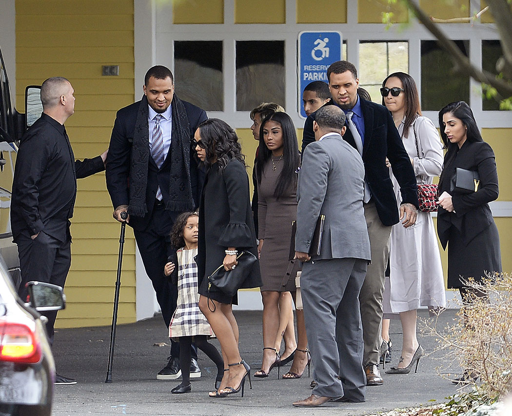 NFL players Maurkice and Mike Pouncey, Hernandez's fiancee Shayanna Jenkins Hernandez and others arrive at the funeral. Hernandez's daughter, Avielle Janelle Hernandez, is at center.