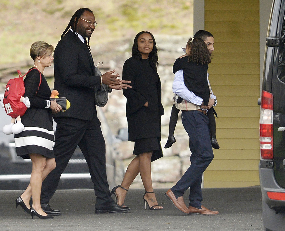 Buffalo Bills linebacker Brandon Spikes at the funeral. Hernandez and Spikes were former teammates.