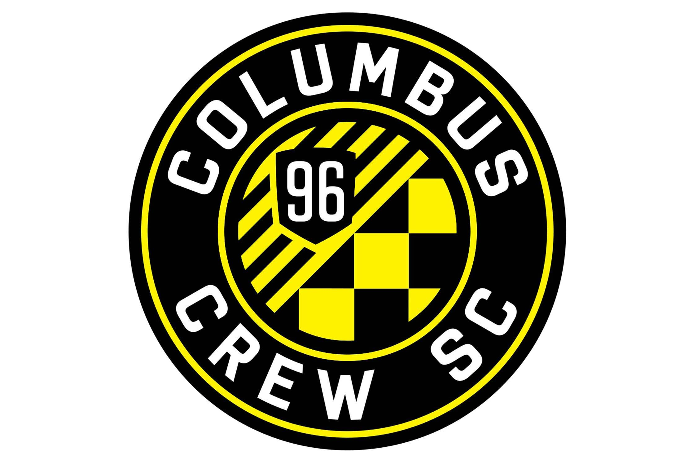"One of MLS's founding clubs, Crew SC re-made its logo in 2014. The circular shape represents the O in its home state of Ohio, nine stripes on the inside stand for the other nine inaugural MLS teams, and the ""96"" represents the club/league's inaugural year of play. The checkered design in the middle represents the flags waved by the club's supporters."