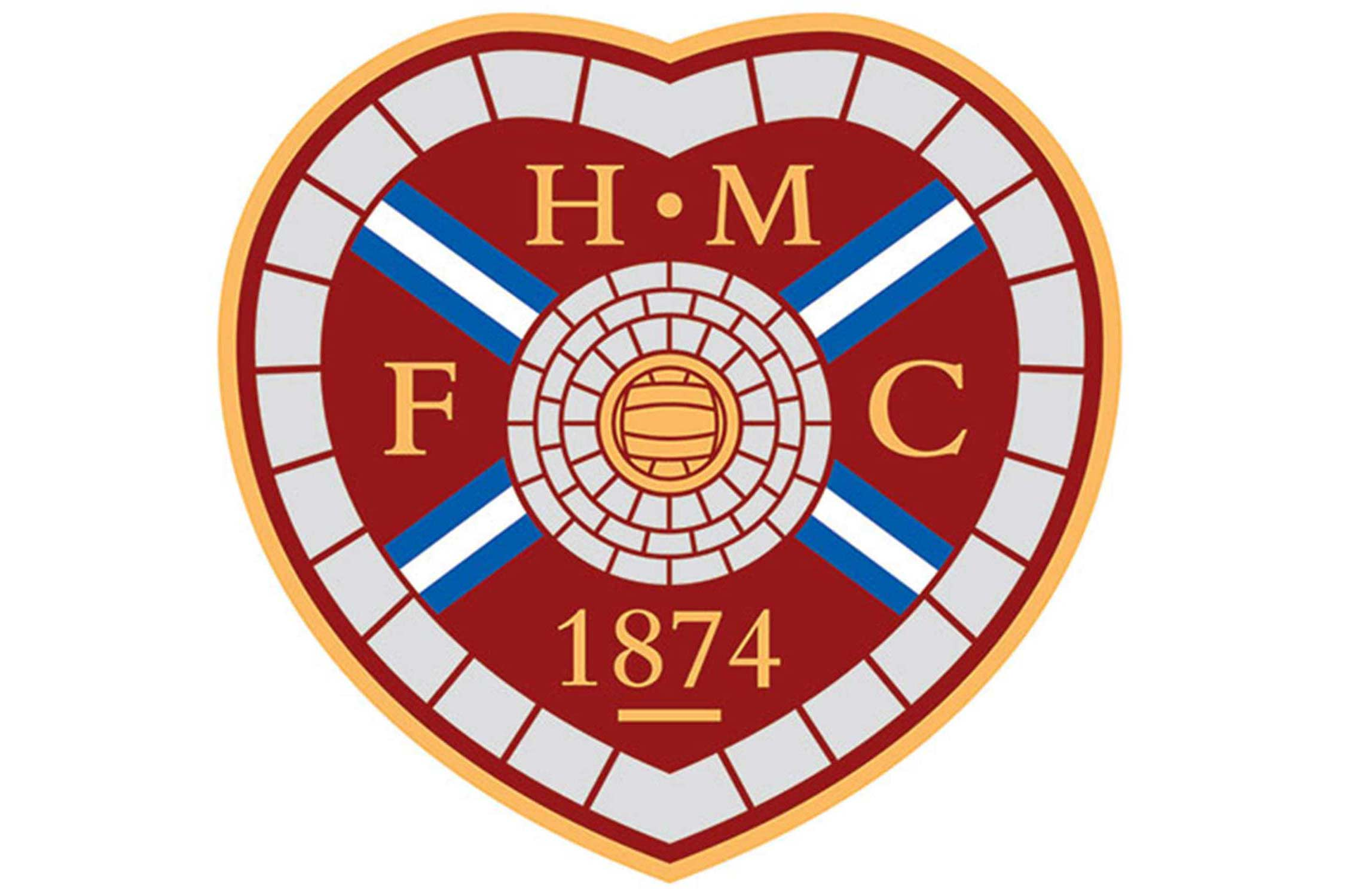 Based in Edinburgh, Heart of Midlothian's crest features bricks around the edge of a familiar heart shape. The bricks are a reference to a mosaic built into the The Royal Mile, a famous walkway in the center of Edinburgh. The blue cross in the center recalls the flag of Scotland.