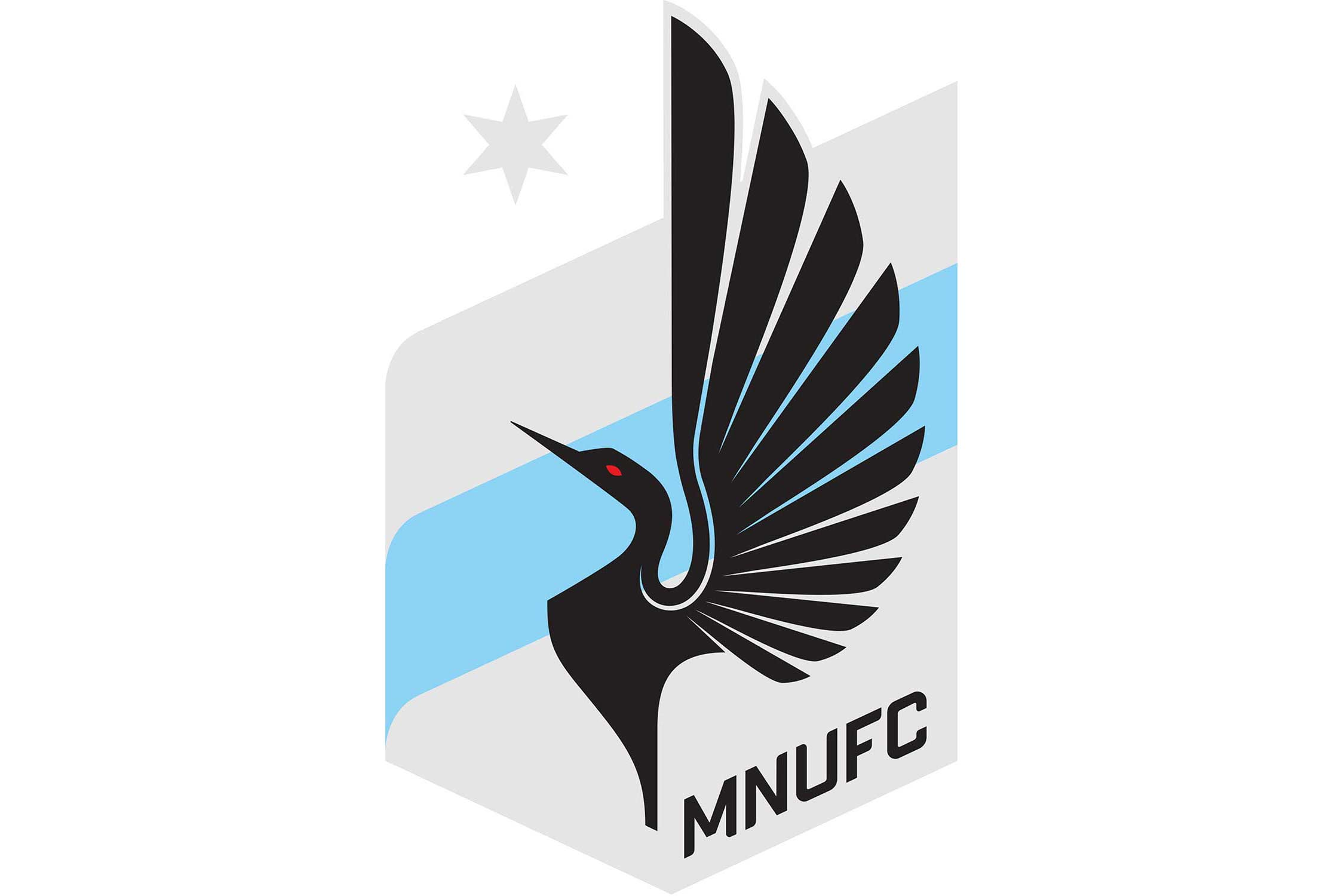 One of the newer brands in American soccer, Minnesota United's crest has plenty of references to its club's state. The gray symbolizes the Iron Range, a collection of iron-mining districts in the state. The blue represents the Mississippi River, the star represents the North Star, and the bird featured in the center is the Loon–the state bird.
