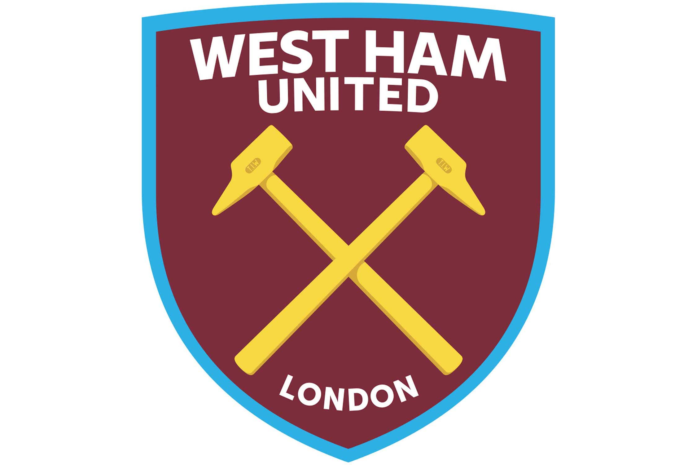 Introduced in 2016, the shape of the new West Ham United crest is modeled after the hull of the HMS Warrior, the first ironclad ship in the British navy, commissioned in 1861. The ship was built by Thames Ironworks, which was the company that formed the club now known as West Ham United. A subtle reference to Thames Ironworks (TIW) can be seen on the hammers in the logo itself.