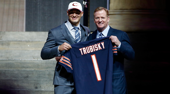 Selected second overall by the Bears, Mitchell Trubisky poses with Roger Goodell at the NFL draft in Philadelphia.