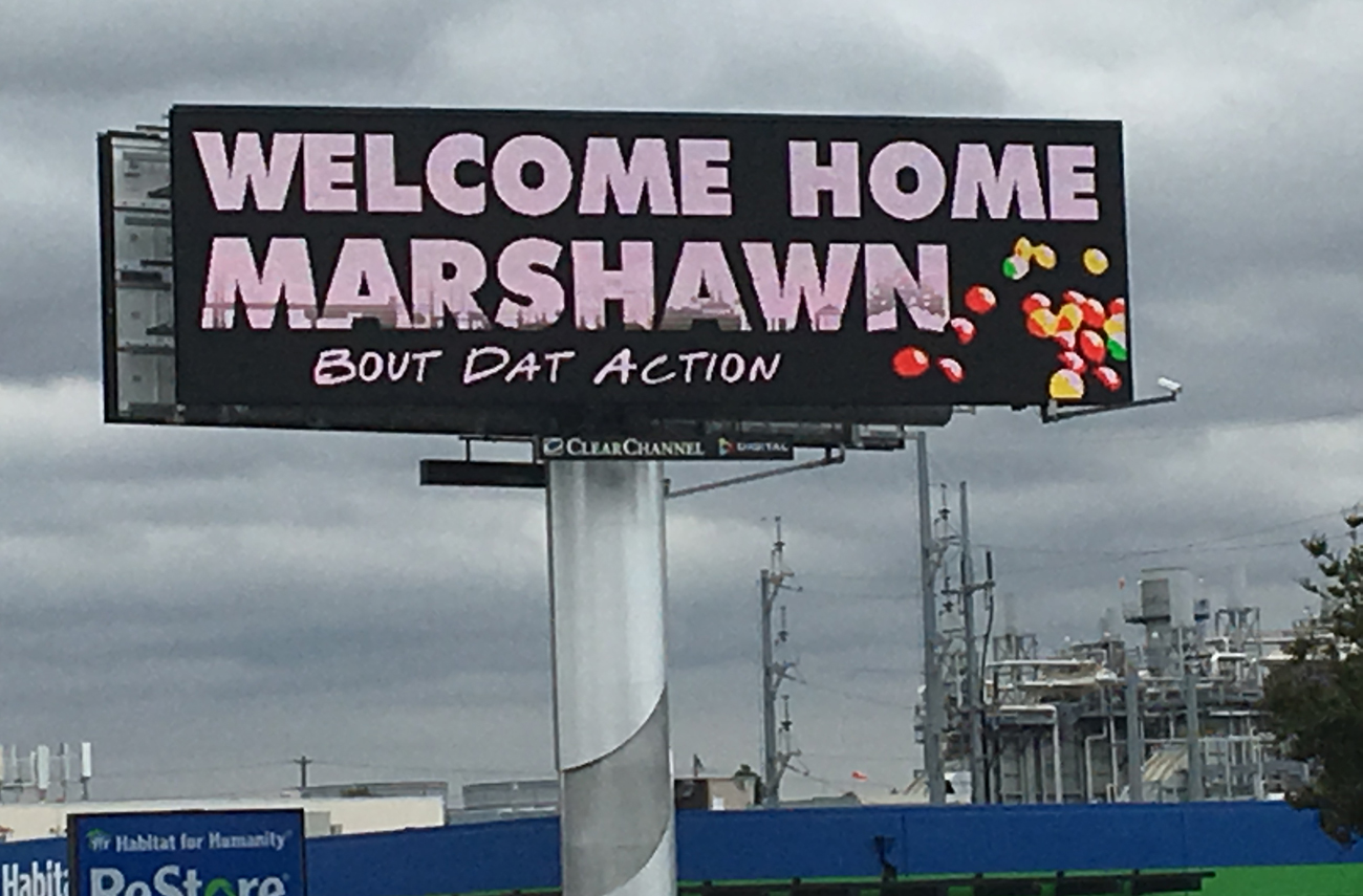 A Beast Mode billboard popped up in the Bay Area to welcome back the Oakland native.