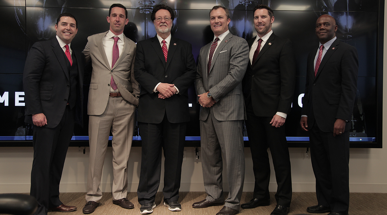 From left: Jed York, Kyle Shanahan, John York, John Lynch, Adam Peters and Martin Mayhew.