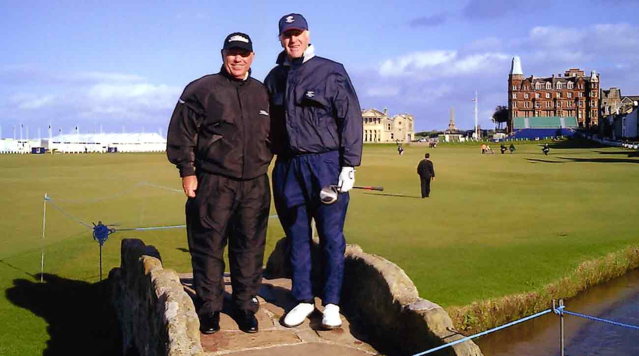 For Sam's 70th birthday, he and Butch Harmon (left) visited the Old Course.