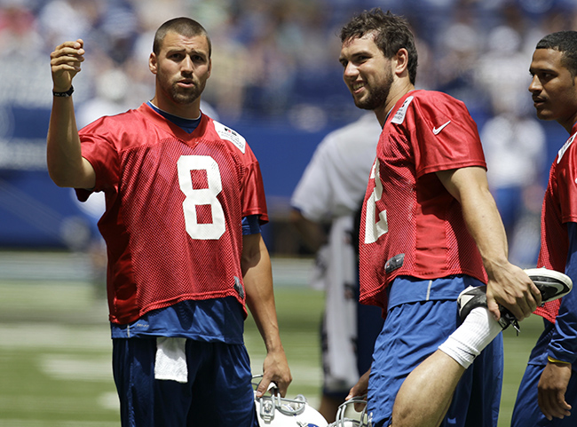 Harnish (left) at OTAs in 2012, with fellow rookie Andrew Luck.