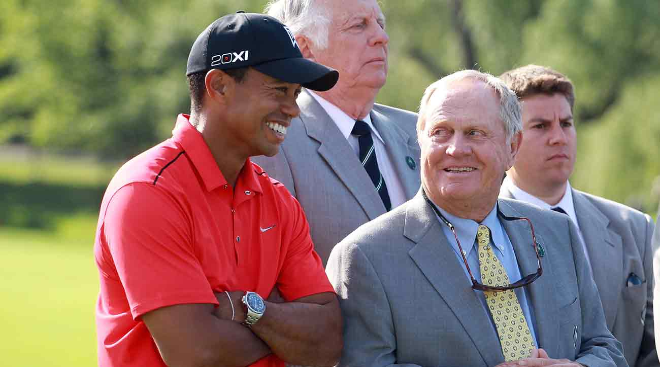 Tiger Woods shares a laugh with Jack Nicklaus at the 2012 Memorial.