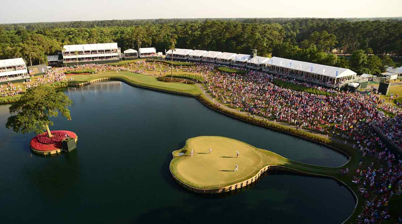 The iconic 17th green at TPC Sawgrass.