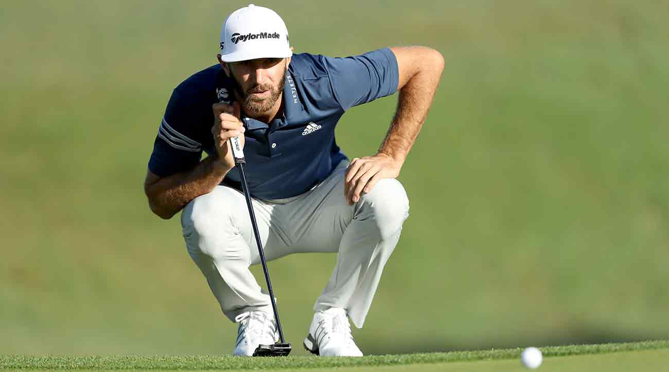 Dustin Johnson lines up a putt during the WGC Match Play in Texas.
