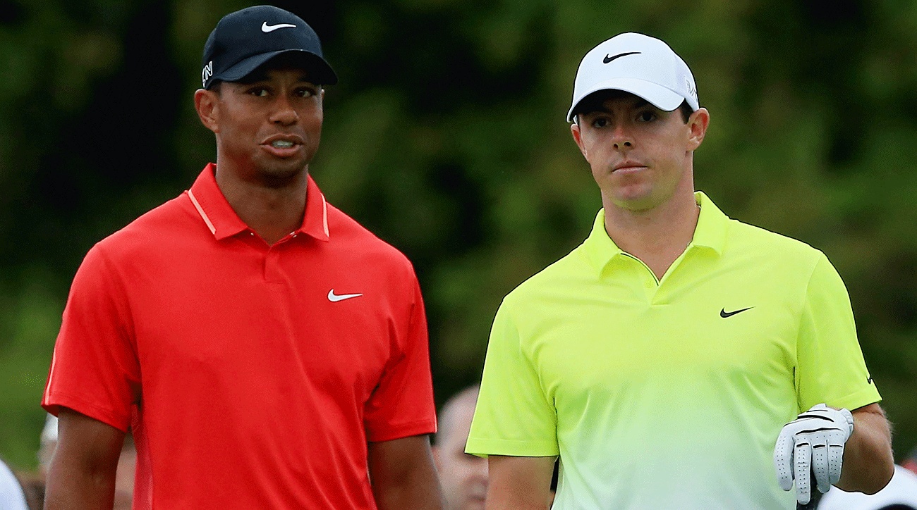 TaylorMade has bet big on Woods and McIlroy, shown here at the 2015 Masters.