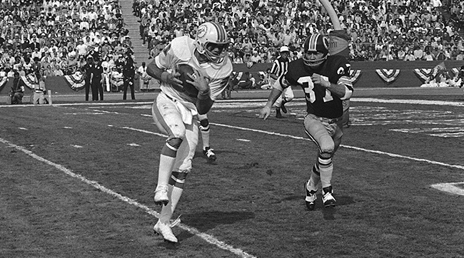 Howard Twilley takes in a Bob Griese pass and heads for the end zone for a touchdown in Super Bowl VII in 1973.