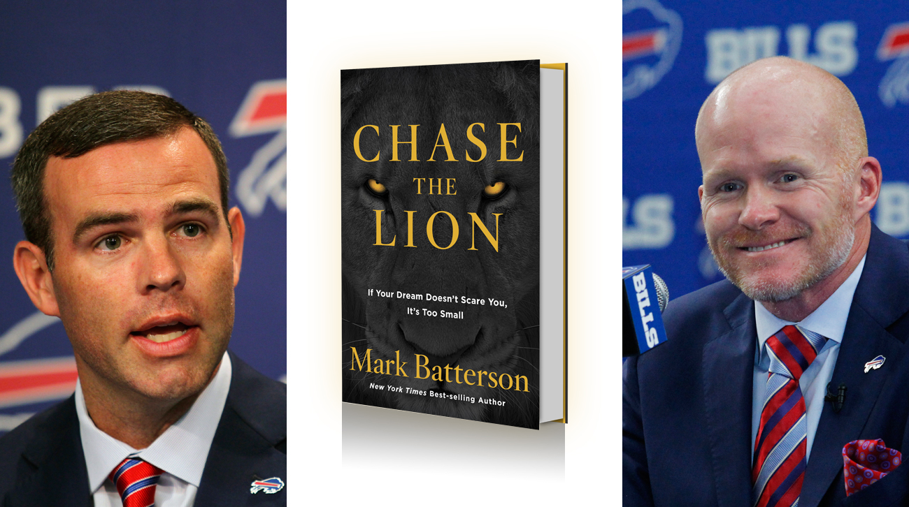 New Bills coach Sean McDermott (right) used this book to help recruit Brandon Beane to become the team's general manager.
