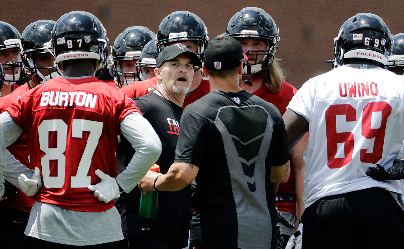 The Falcons rookies hit the field with head coach Dan Quinn last week in Flowery Branch, Ga.