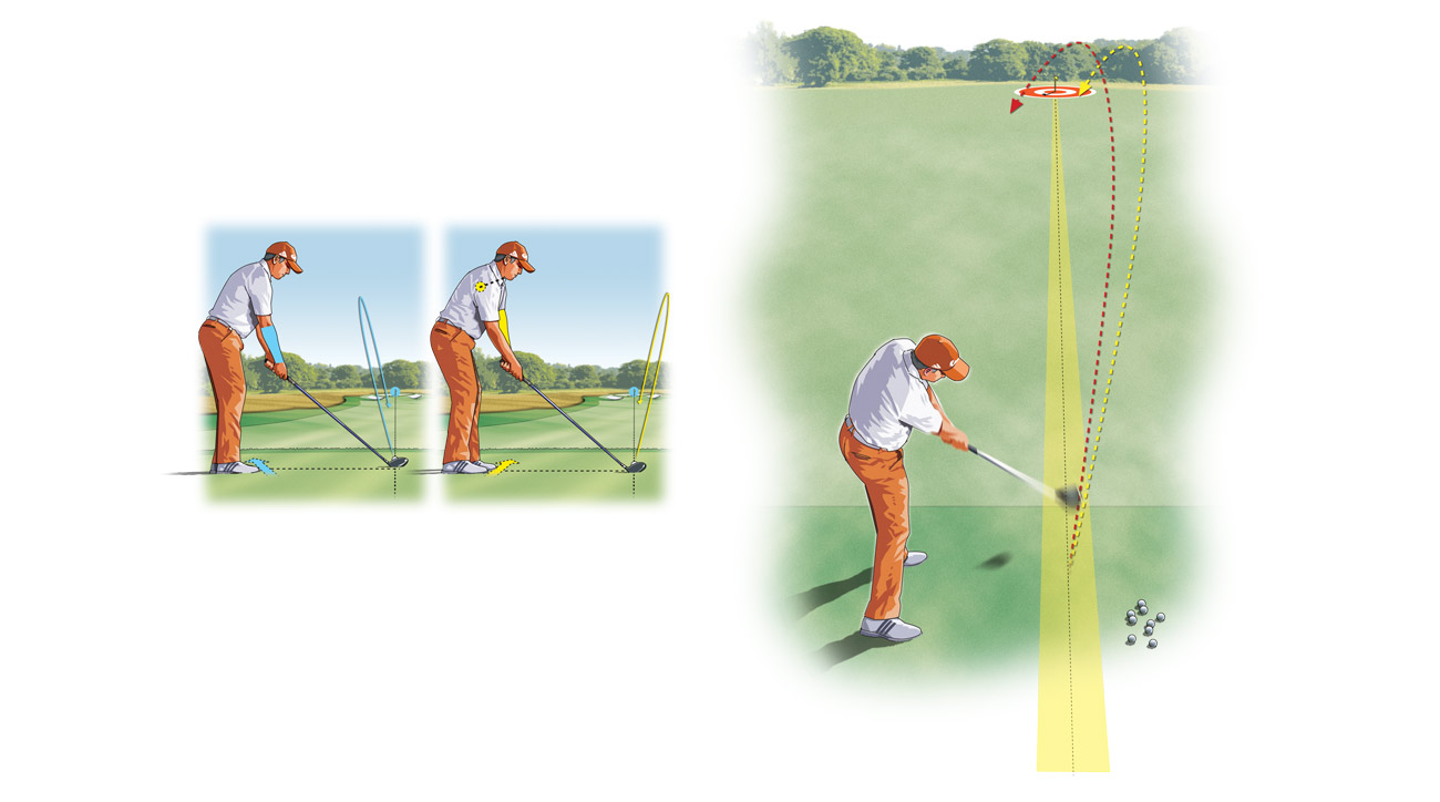 To hone a go-to tee shot, pick a target on the range and try to keep everything to the right of a line drawn to the target (if you draw it) or to the left of that same line (if you fade it). Presto! Supreme confidence on the tee!