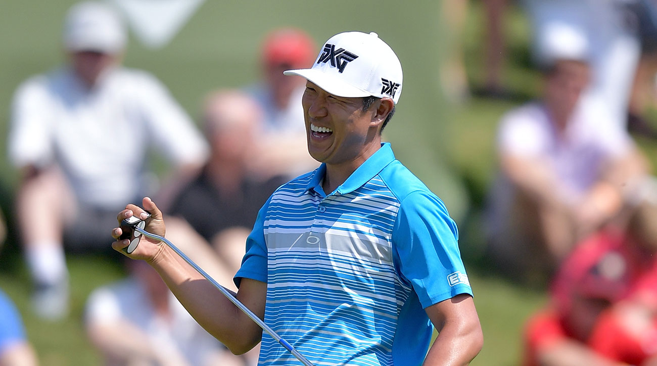 James Hahn reacts after missing an eagle putt on the 16th green during Round Three of the AT&T Byron Nelson.