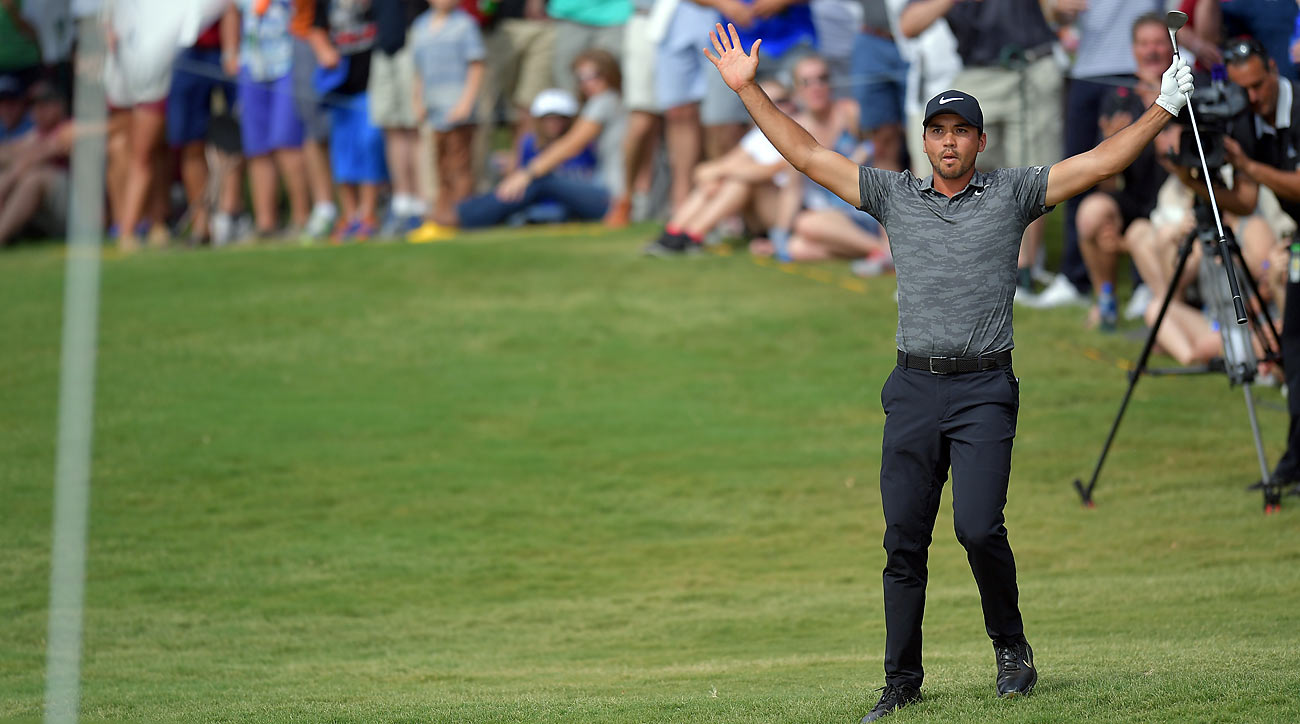 Jason Day holed this pitch shot for birdie on Sunday at the Byron Nelson.