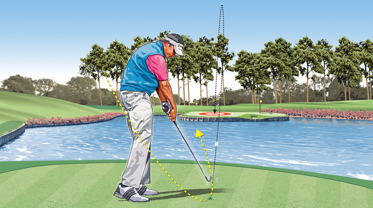 On a par-3 shot over water, take more club, shorten your swing and slow your tempo, and make sure to keep the club swinging all the way into your finish after impact.