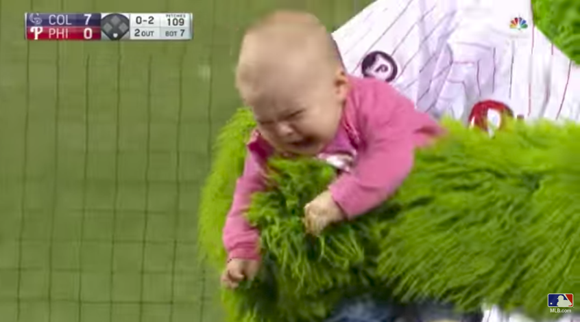 Encounter with Phillie Phanatic leaves baby with life-long trauma