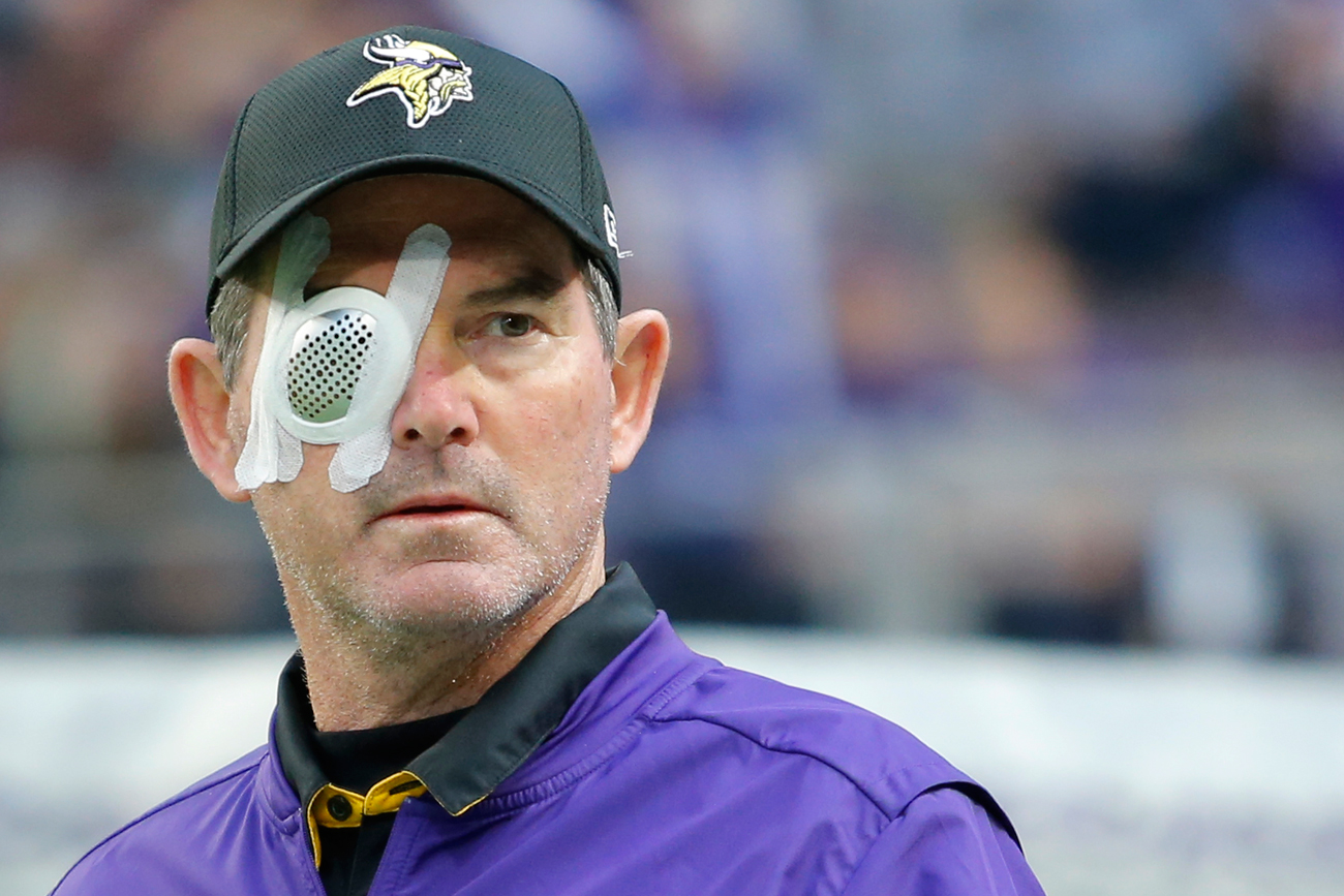 Vikings coach Mike Zimmer missed one game last season with eye issues and has now had eight surgeries trying to correct the problems.