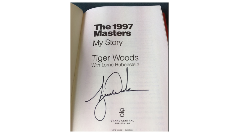 The author's signed copy of Tiger's most recent book.