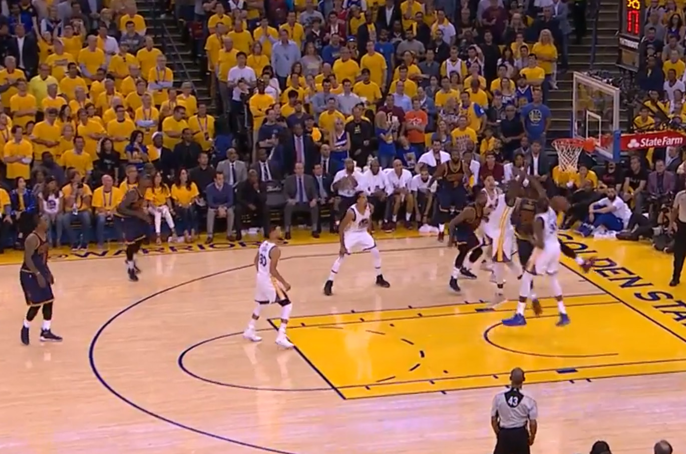 James Resulting Decision A Bailout Pass To Kyrie Irving In The Left Corner Was Easily Intercepted By Klay Thompson Who Immediately Pushed Ball And