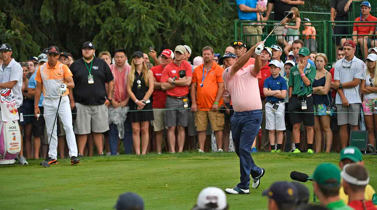 Jason Dufner tees off on the 15th hole during the final round of the Memorial at Muirfield Village Golf Club on June 4, 2017, in Dublin, Ohio. Dufner rebounded from a rough Saturday to win in Ohio.