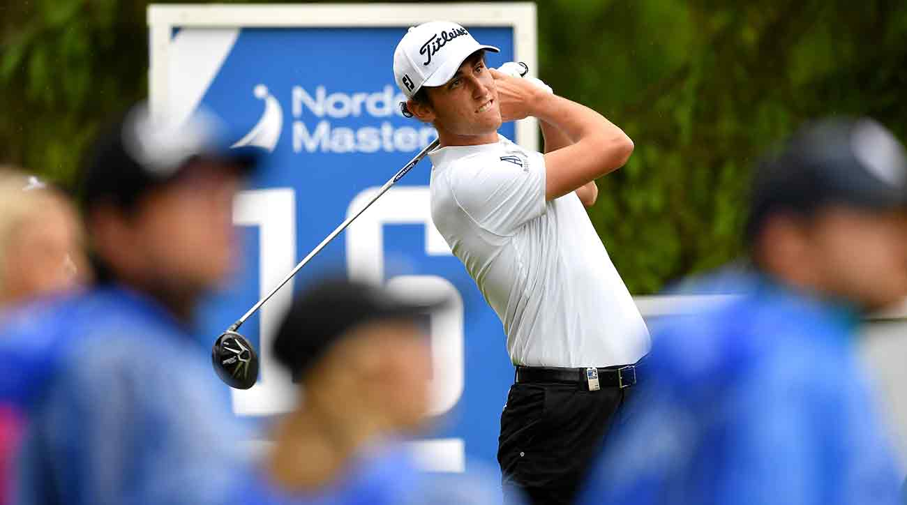Renato Paratore of Italy tees off during the final round of the Nordea Masters at Barseback Golf & Country Club.