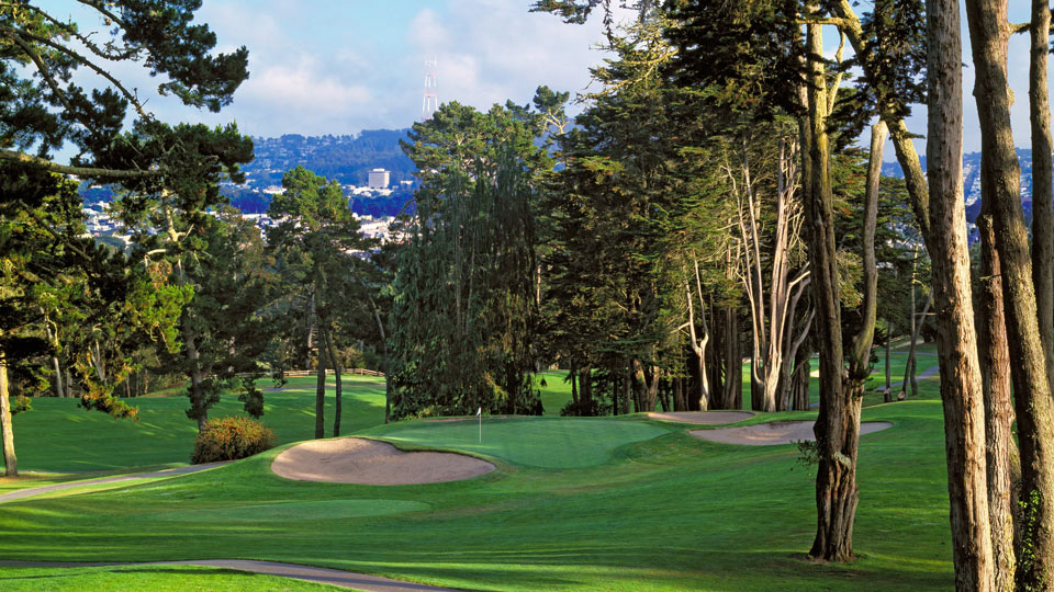 A view of the hilly Presidio Golf Club.