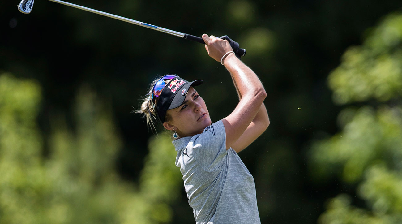 Lexi Thompson tees off the 17th hole during the second round of the 2017 Manulife LPGA Classic at Whistle Bear Golf Club.