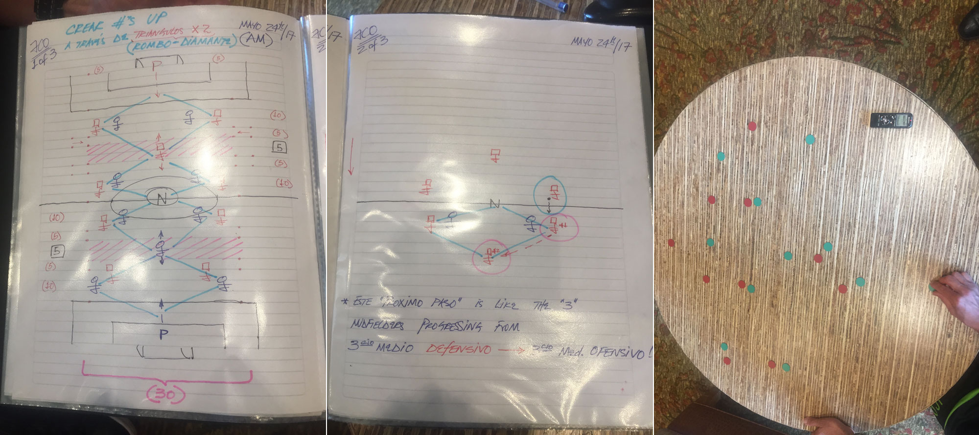 Some of Juan Carlos Osorio's meticulous notes and tactical methods on display.