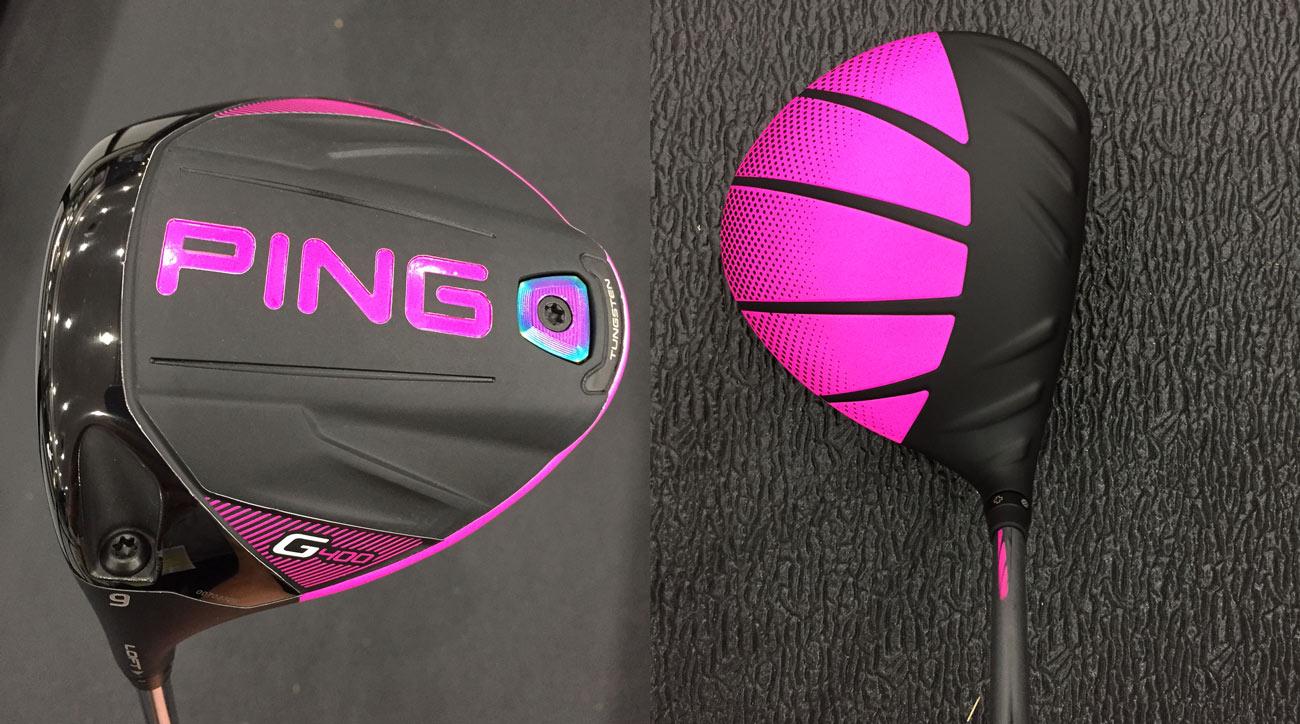 Bubba Watson's new (pink) Ping G400 driver as seen at Erin Hills.