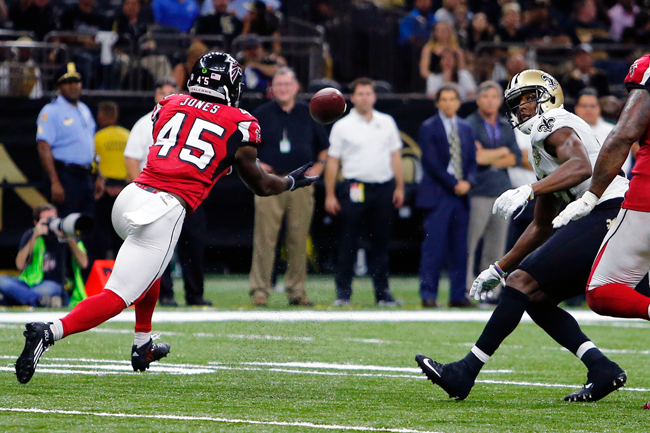 Deion Jones returned this interception of Drew Brees 90 yards for a touchdown.