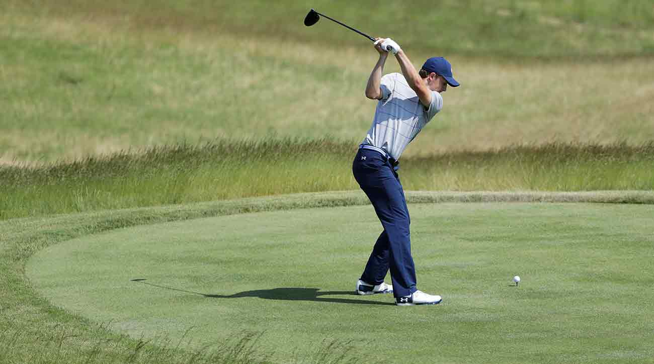 Jordan Spieth tees off during a practice round for the U.S. Open on Tuesday in Erin, Wis.